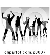 Clipart Illustration Of Silhouetted Black People Dancing And Having Fun Over A Gray Background