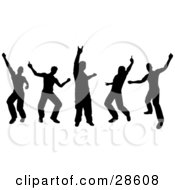 Clipart Illustration Of A Group Of Five Black Silhouetted Guys Dancing At A Party