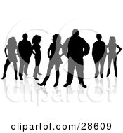 Clipart Illustration Of Seven Male And Female Adults Standing And Silhouetted In Black With A White Background
