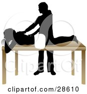 Clipart Illustration Of A Silhouetted Masseuse Massaging A Clients Back In A Spa