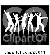 Clipart Illustration Of White Silhouetted Adults With Reflections Dancing Over A Black Background