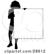 Clipart Illustration Of A Silhouetted Woman Standing And Holding A Blank Sign Over White