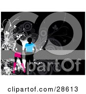 Clipart Illustration Of Two Black Silhouetted People In Blue And Pink Clothes Over A Black Background With Gray And Black Circles And Vines And A Striped Band by KJ Pargeter