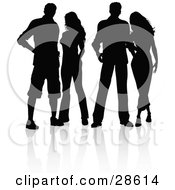 Clipart Illustration Of Four Men And Women Standing Together Silhouetted In Black