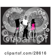 Clipart Illustration Of A Black Silhouetted Man In A White Shirt Standing Between Two Silhouetted Women In Pink Clothes Over A Bursting Gray Background With Grunge Circles by KJ Pargeter