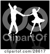 Clipart Illustration Of A White Silhouetted Couple Ballroom Dancing On A Black Background