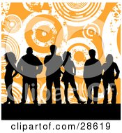 Clipart Illustration Of A Group Of Six Black Silhouetted People Standing Over An Orange Background With White Grunge Circles