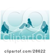 Clipart Illustration Of Three Silhouetted People On White Waves Over A Blue Background