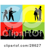 Clipart Illustration Of A Set Of Silhouetted People In A Crowd Group Standing And Dancing Over Blue Yellow Red And Green Backgrounds