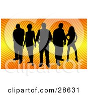 Clipart Illustration Of A Group Of Five Black Silhouetted People Standing Over A Gradient Yellow And Orange Background With Dots