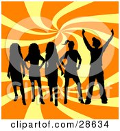 Clipart Illustration Of A Group Of Five Black Silhouetted Teenagers Standing Over A Swirling Yellow And Orange Background