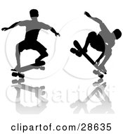 Clipart Illustration Of Black Silhouetted Skateboarders Doing Tricks Over A Reflective Surface