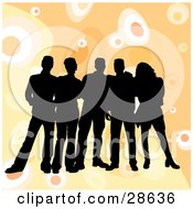 Clipart Illustration Of A Group Of Five Black Silhouetted Friends Standing Over A Retro Orange Background With Circles