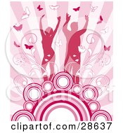 Clipart Illustration Of A Happy Silhouetted Couple Surrounded By Vines And Butterflies Standing On Circles On A Background Of Pink Rays by KJ Pargeter