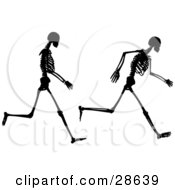 Clipart Illustration Of Two Poses Of A Black Silhouetted Skeleton Running