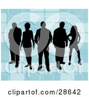 Clipart Illustration Of A Group Of Five Black Silhouetted People Standing Over A Retro Blue Background With Rectangle Designs