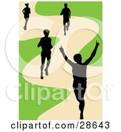Clipart Illustration Of A Black Silhouetted Runner Holding His Arms Up While Crossing The Finish Line His Competitors Behind Him On A Track by KJ Pargeter #COLLC28643-0055