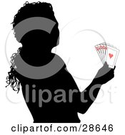 Clipart Illustration Of A Black Silhouetted Woman Holding A Royal Flush Of Playing Cards by KJ Pargeter