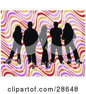 Clipart Illustration Of A Group Of Five Black Silhouetted People Standing Over A Colorful Wavy Retro Background