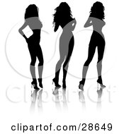 Clipart Illustration Of Three Black Silhouetted Sexy Women Standing In High Heels by KJ Pargeter