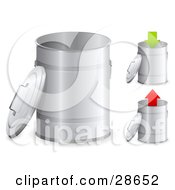 Clipart Illustration Of A Set Of Three Metal Trash Cans With The Lids Off One With A Green Arrow Pointing Down And One With A Red Arrow Pointing Up by beboy