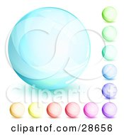 Orb Set Of Blue Green Purple Red Pink And Yellow Circles