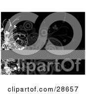 Clipart Illustration Of A Diagonal Striped Bar Spanning A Black Background With Gray Circles And White Vines