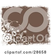 Clipart Illustration Of A Brown Background Bordered By White Grunge With Vines And Circles