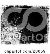 Clipart Illustration Of A Cluster Of White Circles And Vines In The Corner Of A Black Background Bordered By White Grunge