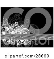 Clipart Illustration Of A Cluster Of Gray And White Splatters Circles And Vines Around A Striped Bar Over A Black Background