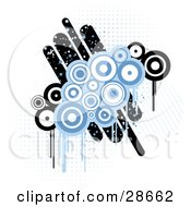 Clipart Illustration Of A Cluster Of Blue And White Circles Over Black And White Circles And Lines On A White Background With Blue Dots