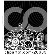 Clipart Illustration Of White Curly Vines And Circles Over A Bursting Black Background