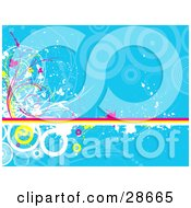 Clipart Illustration Of A Pink Yellow And White Line With Circles Vines And Grunge Splatters Over A Blue Background