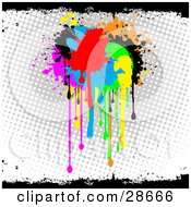 Clipart Illustration Of A Cluster Of Red Blue Green Yellow Orange Pink And Black Paint Splatters Dripping Over A Gray And White Dotted Background With Black Grunge