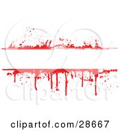 Blank Text Bar Bordered With Red Blood Splatters And Drips Over White
