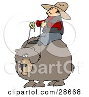 Clipart Illustration Of A White Cowboy Man Riding On The Back Of A Bear Symbolizing Control by Dennis Cox