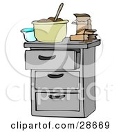 Clipart Illustration Of A Measuring Cup And Pudding Boxes By A Mixing Bowl Of Chocolate Pudding On A Kitchen Island Counter
