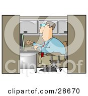 Clipart Illustration Of A White Businessman Employee Working On A Computer In An Office Cubicle by Dennis Cox