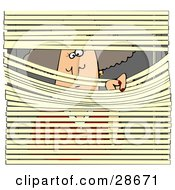 Clipart Illustration Of A Nosy White Woman Pulling Down Metal Window Blinds To Spy On Her Neighbors