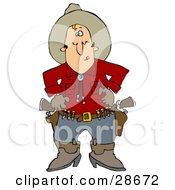 White Cowboy In A Red Shirt Standing At The Ready Prepared To Pull Both Pistils In His Belt And Shoot