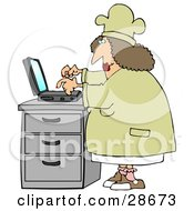 Clipart Illustration Of A Chubby Female Chef In A Hat And Coat Typing Her Recipes Into A Laptop And Putting Them On Her Internet Website