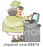 Chubby Female Chef In A Hat And Coat Using A Laptop Computer In A Kitchen To Browse The Internet For Good Recipes