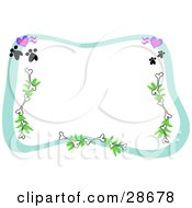 Clipart Illustration Of A Stationery Border Of Hearts Paw Prints Bones And Branches Framing A White Background by bpearth