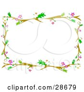 Clipart Illustration Of A Stationery Border Of Branches Leaves And Pink Flowers Over White