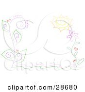 Clipart Illustration Of A Stationery Border Of Curling Vines With Purple Stalks Green Leaves Red Hearts And A Big Yellow Flower