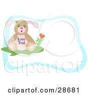 Clipart Illustration Of A Sweet Puppy Seated With A Heart Flower With Love You Text On Its Belly Surrounded By A Blue Border With Text Space