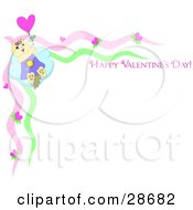 Clipart Illustration Of A Kitty Cat Holding Onto A Balloon And Flying Away On A Stationery Border With Happy Valentines Day Text by bpearth