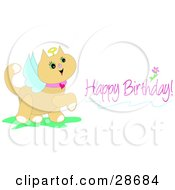 Clipart Illustration Of A Birthday Greeting Of A Cute Angel Cat With A Halo And Wings by bpearth