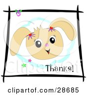 Clipart Illustration Of A Friendly Bunny Rabbit Smiling Bordered By Blue With Stars Black Lines And Text Reading Thanks by bpearth