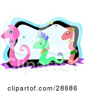 Clipart Illustration Of Two Pink And One Green Snakes In Flowers And Collars Slithering Over A Background With Stars by bpearth